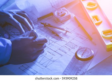 Architectural design and project blueprints drawings