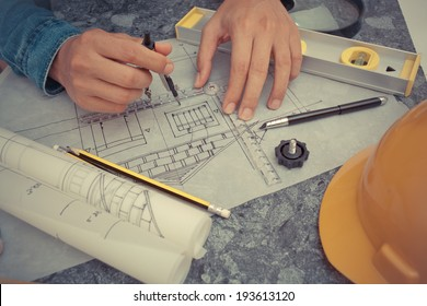 Architectural design and project blueprints drawings-Filtered Image