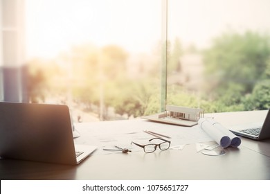 Blueprint paper blank stock photos images photography shutterstock architectural desk engineer table construction site soft focus vintage tone working with malvernweather Choice Image