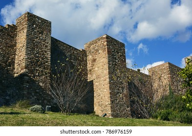 Architectural detail of the 'Alcazaba of Malaga' Moorish palatial fortification in Spain