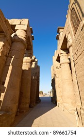 Architectural detail of ancient Luxor Temple in Egypt at dawn