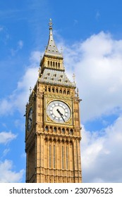 Architectural detail of the Big Ben in London, UK against blue sky