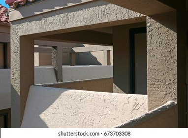 Architectural detail of breezeways in a modern building