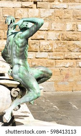 Architectural detail of bronze statues of the Fountain of Neptune in Piazza della Signoria (Florence, Italy)