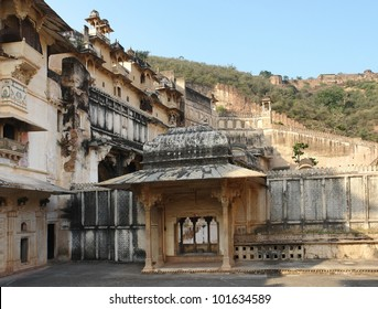 architectural detail at Bundi Palace located in Bundi, a city in in Rajasthan, India