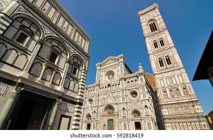 Architectural detail of the Cathedral of Saint Mary of the Flowers in Piazza del Duomo, Florence, Italy