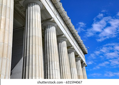 Architectural detail of the columns on the Lincoln Memorial in Washington, DC