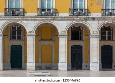 Architectural detail from Commerce square, Praca do commercio in Lisbon, Portugal