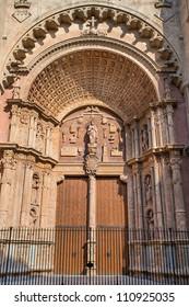 Architectural detail of doorway at Palma cathedral, Majorca