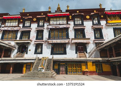 Architectural detail of Drepung monastery. The monastery is the largest of all Tibetan monasteries and is located in the foothills of Lhasa, Tibet.