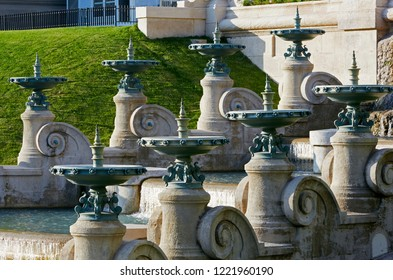 Architectural detail of fountains in the  Baroque 'Palais Longchamp' in Parc Longchamp in Marseille