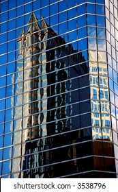 Architectural detail of a glass building in the downtown Tampa area.