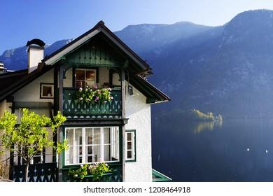 Architectural detail in Hallstatt mountain village, Salzkammergut region, Austria, Europe