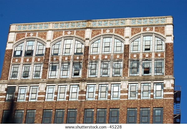 Architectural detail of a historic but abandoned building in the Los Angeles Fashion District