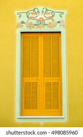 Architectural detail of Ligurian Riviera buildings - a fake painted window on facade of a villa, Arenzano, Italy.