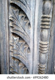 Architectural detail of a marble column. Acanthus is one of the most common plant forms to make foliage ornament and decoration.