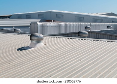 Architectural detail of metal roofing on commercial construction