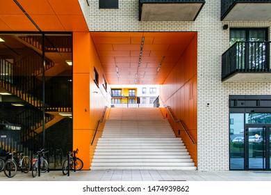 Architectural detail of a modern apartament building.