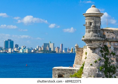 Architectural detail of the Morro Castle (fortress) in Havana, Cuba