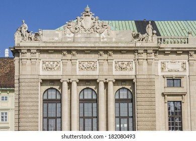 Architectural Detail of Neue Burg Wing with Austrian National Library and the Hofburg Congress Center on Heldenplatz in Hofburg. Vienna, Austria, Europe.