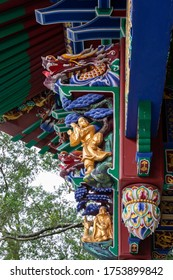 Architectural detail in Po Lin Monastery, Ngon Ping Village, Lantau, Hong Kong