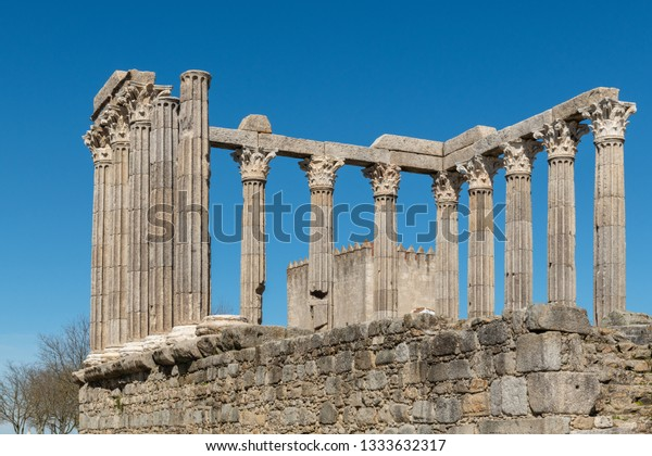Architectural detail of the Roman temple of Evora in Portugal or Temple of Diana. It is a UNESCO World Heritage Site.