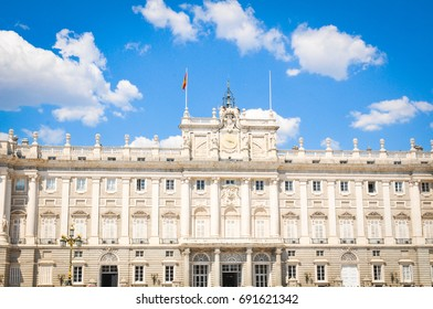 Architectural detail of the Royal Palace (Palacio Real), major cultural and historical landmark in Madrid, Spain