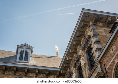 An architectural detail of the Rubens House in Antwerp, Belgium.