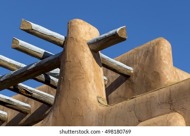 Architectural detail of Santa Fe, New Mexico -roof of adobe building