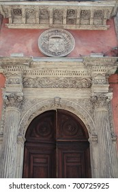 Architectural detail. Spanish College in Bologna. Italy