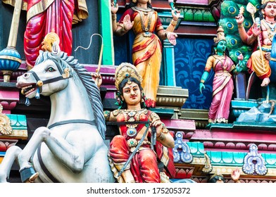 Architectural detail of Sri Mahamariamman Temple near Chinatown in Kuala Lumpur, Malaysia. The temple is the oldest Hindu temple in the city.