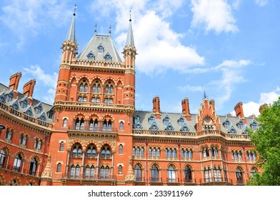Architectural detail of the St. Pancras train station in London
