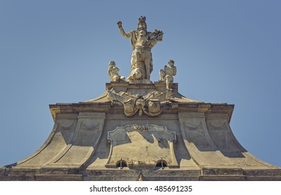 Architectural detail of the Third gate of Alba Iulia Citadel, the largest gate of the fortress, dominated by an equestrian statue of emperor Carol VI of Austria.