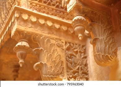 Architectural details of balconies inside Jaisalmer Fort in Jaisalmer, Rajasthan, India