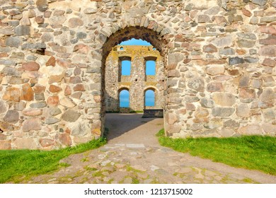 Architectural  details of Brahehus Castle ruins, near lake Vattern. Smaland province, Sweden