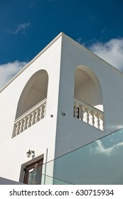 Architectural details of a building from Oia village at Santorini island, Greece