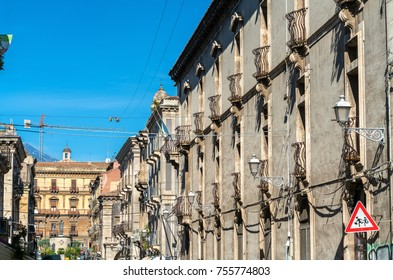 Architectural details of Catania, a city in Sicily, Southern Italy