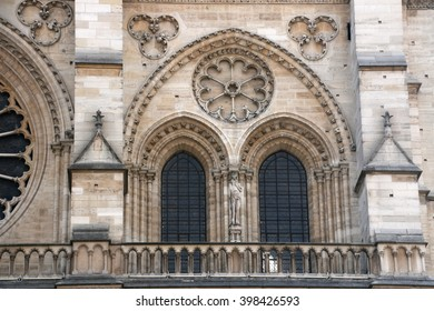 Architectural details of Cathedral Notre Dame de Paris. Cathedral Notre Dame de Paris - most famous Gothic, Roman Catholic cathedral on the eastern half of the Cite Island. France, Europe.