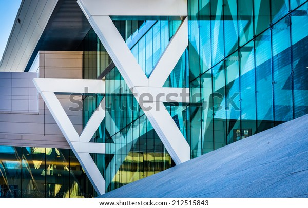 Architectural details of the Convention Center in Baltimore, Maryland.