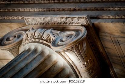 Architectural details and decorative column.
