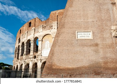Architectural details of the facade of the Colosseum (Coliseum) or Flavian Amphitheatre, the largest Roman amphitheater located in city of Rome, Italy