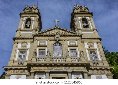 Architectural details of Imposing Good Jesus of the Mount (Bom Jesus do Monte, from 1373) - Portuguese sanctuary and important tourist attraction near Braga. Portugal.