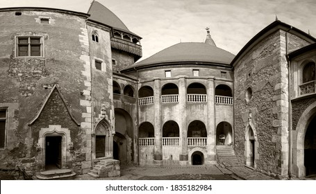 The architectural details of the  inner courtyard of the Corvin -  also known as Hunyadi Castle. Hunedoara, Transylvania.
