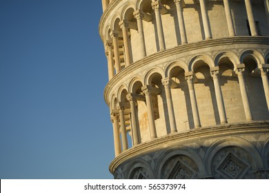 Architectural details of the Leaning Tower of Pisa Tuscany Italy