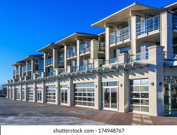 Architectural details of modern apartment building.