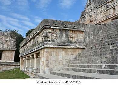 Architectural details of the nunnery building in Uxmal. Puuc style Maya architecture details in the female monastery (Quadrangulo de las Monjas). Uxmal. Yucatan Peninsula, Mexico.
