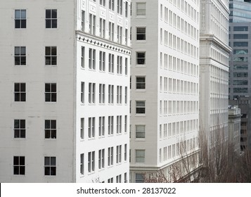 Architectural details of office and downtown buildings in Portland, OR.