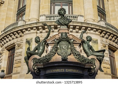 Architectural details of Paris Opera. Grand Opera (Garnier Palace) is famous neo-baroque building in Paris, France - UNESCO World Heritage Site.