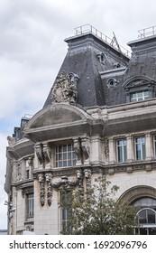 Architectural Details of Paris-Gare-de-Lyon (or Gare de Lyon - Station of Lyon, 1849), one of seven large railway station in Paris, one of the busiest of Europe. Paris, France.