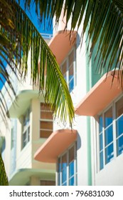 Architectural details in pastel colors of a traditional Art Deco building in Miami Beach, Florida, USA